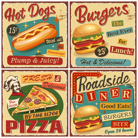 Fast food vintage vector poster collection.Retro Diner,burger,hot dog,pizza metal sign.