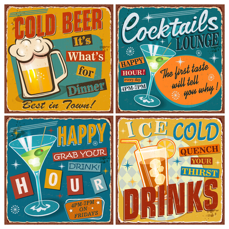 Set of retro posters with cold  drinks. Vintage Beer,Cocktails,Happy Hour metal sign collection.