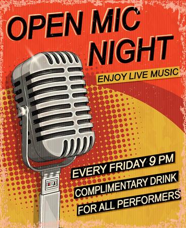 Cartel vintage de Open Mic Night.