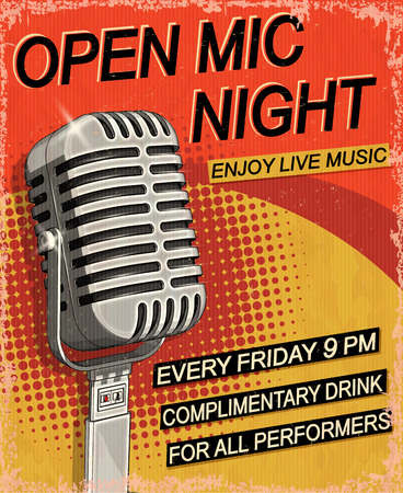 Open Mic Night vintage poster. Illustration