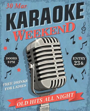 Karaoke vintage poster. Reklamní fotografie - 107484617