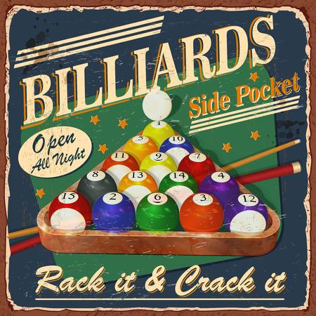 Vintage Billiards metal sign.