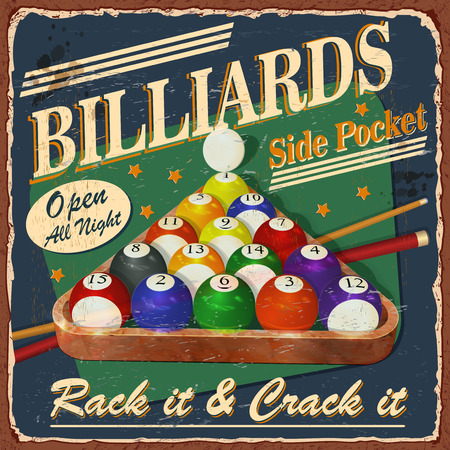Vintage Billiards metal sign.
