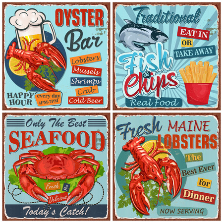 Seafood vintage metal sign collection.
