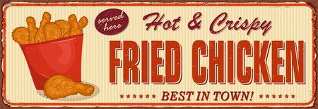 Vintage Crispy Chicken metal sign.
