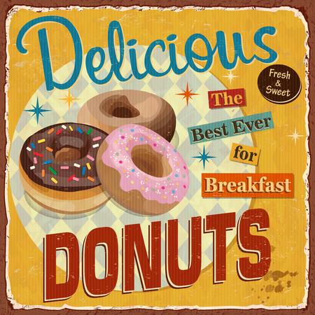 Vintage Donuts metal sign.