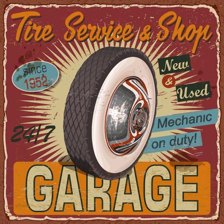 Vintage Tire Service metal sign.