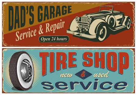 Vintage car metal sign collection.Garage, Tire Service retro poster.