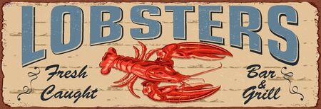 Vintage Lobster metal sign.