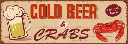 Vintage Cold Beer and Crabs metal sign. Reklamní fotografie - 125779815