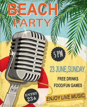 Beach party vintage poster. Reklamní fotografie - 125779816