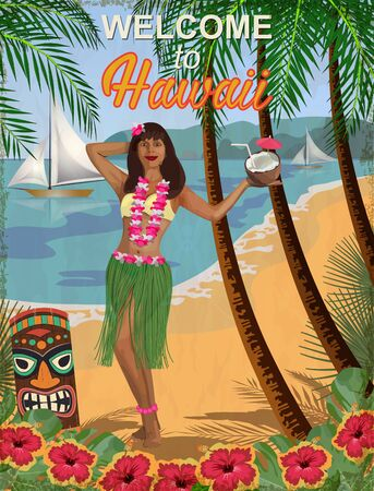 Welcome to Hawaii vintage poster.