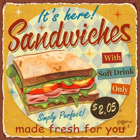 Vintage Sandwiches metal sign.