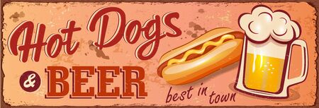 Vintage Hot Dogs and Beer metal sign.