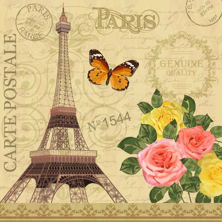 Paris vintage postcard with Eiffel Tower and roses on retro background. 向量圖像