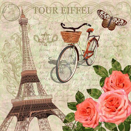 Paris vintage postcard. Reklamní fotografie - 139800137