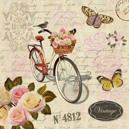 Cartolina d'epoca con fiori, farfalla e vecchia bicicletta. Vettoriali