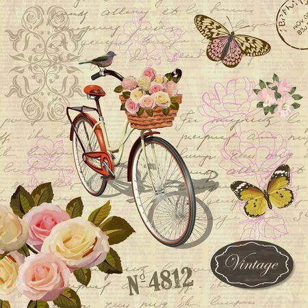 Postal vintage con flores, mariposas y bicicleta vieja. Ilustración de vector
