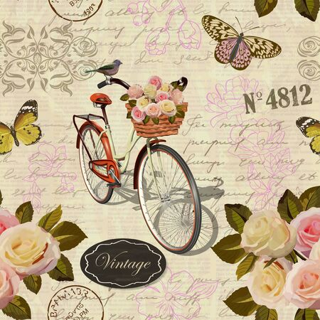 Seamless vintage background with flowers, butterfly and old bicycle.