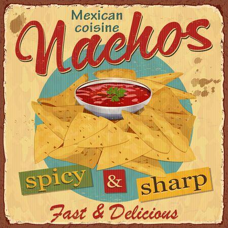 Vintage Nachos metalen bord.