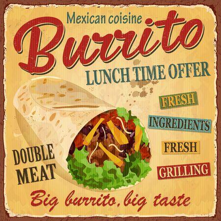 Vintage Burrito metal sign. 向量圖像