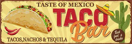 Vintage Tacos Bar metal sign. 向量圖像