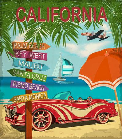 California retro poster with retro car.