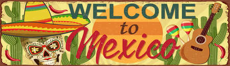 Welcome to Mexico metal sign. Ilustrace