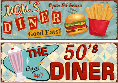 Set of retro American Diner posters. Vector Illustration