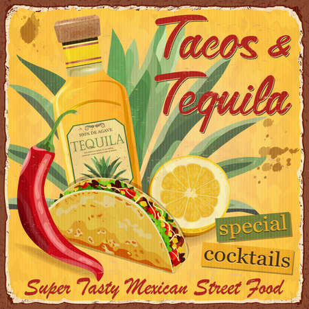 Vintage Tacos and Tequila  metal sign.