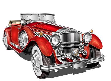 Vintage car. Ilustrace
