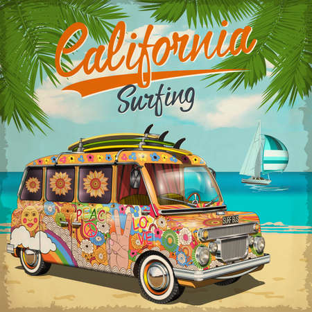 California Surf poster with retro bus. Ilustrace