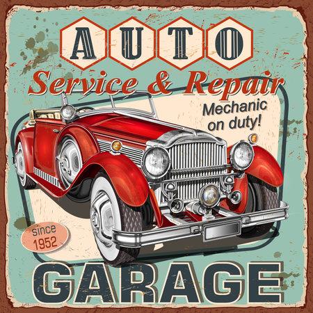 Vintage Auto Service poster with retro car.