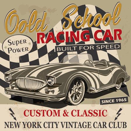 Vintage Old School Racing Car poster.