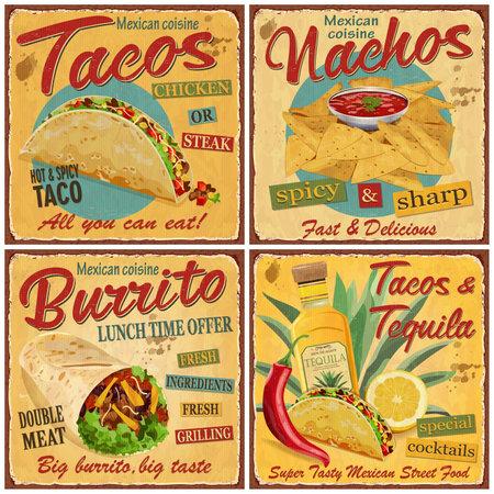 Mexican food vintage vector poster collection.Retro Tacos,Nachos,Burrito,Tequila metal sign.