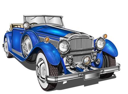 Vintage car isolated on white background.