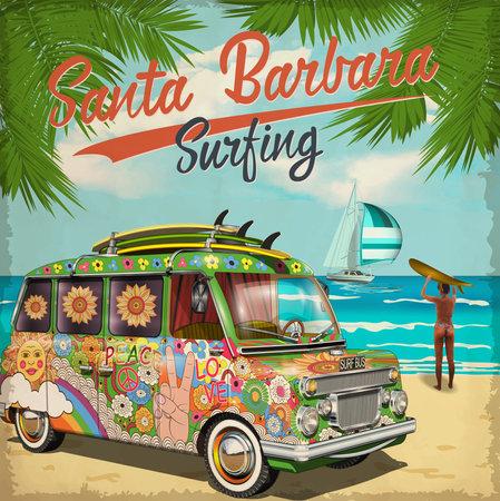 Santa Barbara,California poster with retro bus.