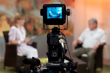 viewfinder: Video camera viewfinder - recording show in TV studio