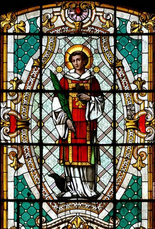catholic stained glass: Catholic stained glass window from a church of the north of Serbia