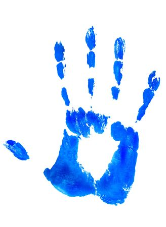 hand print in blue color on white aquarell (watercolor) paper. can be easily changed with hue and color adjustment in ps photo
