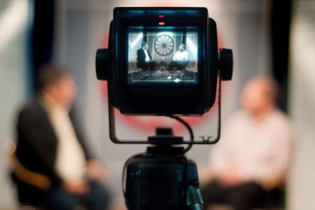 Video camera viewfinder - recording show in TV studio - focus on camera