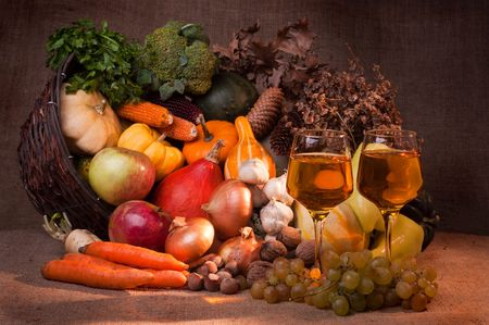 Fall cornucopia and wine setting Stock Photo - 7979020