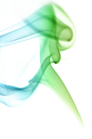 Blue and green smoke on white background