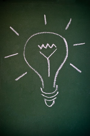 blackboard with chalk drawing of a light bulb creativity sign  Stock Photo - 9163159