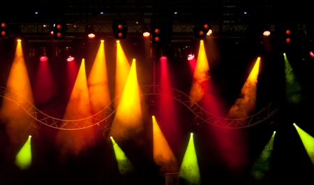 stage with light and smoke background Banque d'images