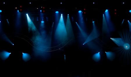 sfondo luci: palco con sfondo di luce e fumo Archivio Fotografico