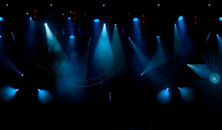 reflectors: stage with light and smoke background Stock Photo