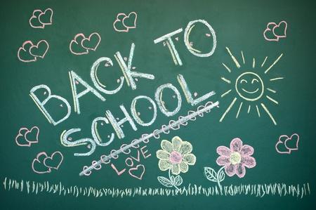 Back to school chalkboard. Green chalk blackboard written Back To School with white chalk.  photo