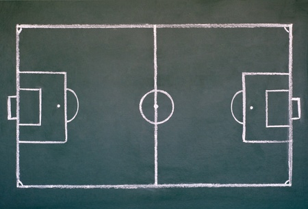 image of soccer field on the school chalkboard to drawing strategy  Stock Photo