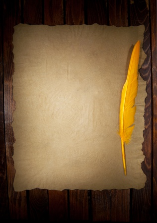 a old paper with a feather as a background Stock Photo